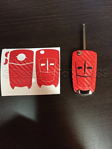 Preisvergleich Produktbild Carbon Folie / Dekor Rot Schlüssel Key Opel Astra Corsa D GTC B Vauxhall H Vectra C VXR Zafira OPC 2- und 3 Tastenschlüssel uvm...