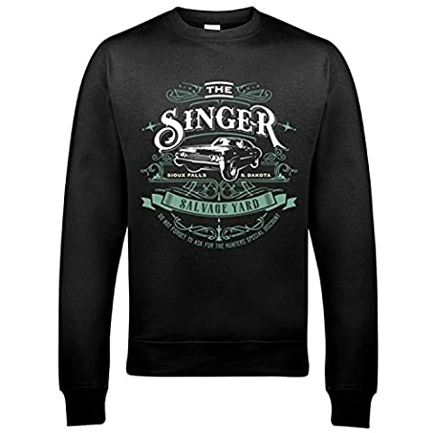 9133 Singer Salvage Auto Yard Mens Sweatshirt Supernatural Sam Winchester Brothers Impala Dean(XX-Large,Black)