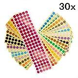 JZK 30 Blatt 10mm bunt rund Punkt Aufkleber 15 Farben Klebeetiketten kleine farbig Dots Etiketten selbstklebend Klebepunkte