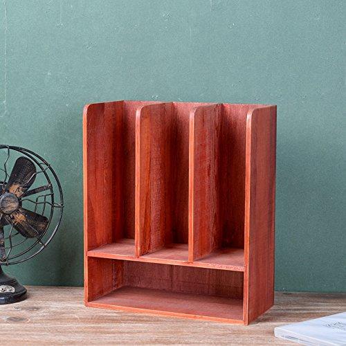 Porte-magazines et porte-journaux Étagères De Revues Retro Solid Wood Decoration Incorporated Sort Out Étagère Bleu Brun Naturel Rouge Blanc (Couleur : Rouge)