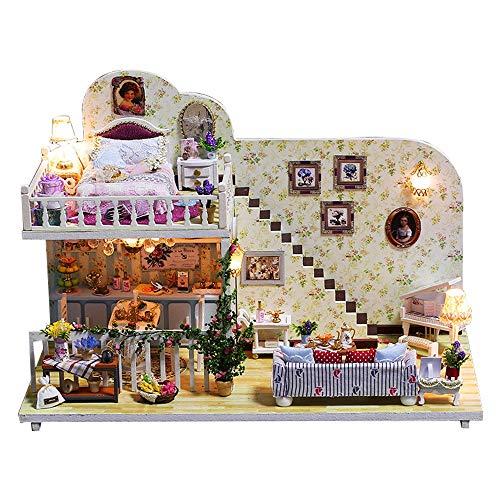 Momola Kreativ Geburtstag Geschenk,Hölzern DIY Puppenhaus Miniatur-Kit mit LED Licht,Amsterdam in The Village Mini Handgefertigte DIY Miniatur Home Decor 26x17x5cm - Amsterdam-reihe