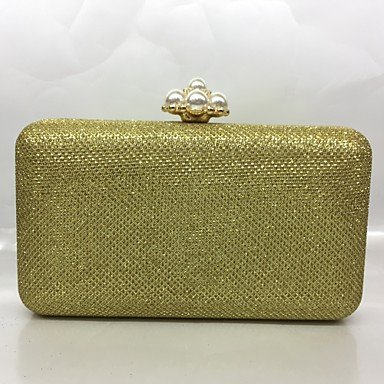 pwne Frauen Abend Tasche Metal All Seasons Formale Veranstaltung/Party Baguette Raupe Push Lock Silber Schwarz Gold Champagne Gold