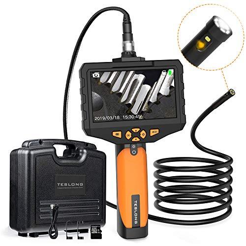 Teslong Zwei Linsen Industrie Endoskop Kamera 4,5-Zoll-Farb-IPS-Monitor Mit 1080P HD-Auflösung Aufnehmen 8mm Durchmesser IP67 wasserdichte Inspektionskamera (Länge 5 m)