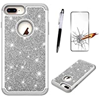 MISSDU iPhone 6 Plus/iPhone 6s Plus 5.5 Hülle, glänzender Glitter PC Silikon-Leder-Doppelschicht-Pflichtschutz (ausgeglichenes Glas-Schirm-Schutz und Touchscreen Stift frei) Grau