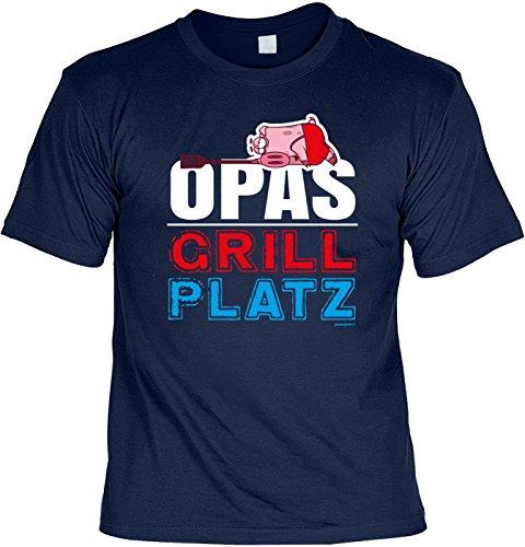 Familien/Grill/Spaß-Shirt/Fun-Shirt/Rubrik lustige Sprüche: Opas Grill Platz - geniales Geschenk Navyblau