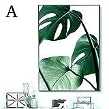 Bloomma Wandbilder Schlafzimmer Leinwand Bild Ohne Rahmen für zu Hause Moderne Dekoration Pflanze grünes Blatt Muster (A: 40 * 50cm)
