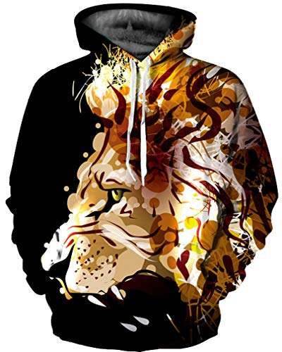 Mehrfarbig Hoodie Schädel Kapuzenpullover Bunt Wolf Pulli Totenkopf Sweatshirt mit Kaputzen (L/XL (Brustumfang: 114-134CM), Gebrüll) ()