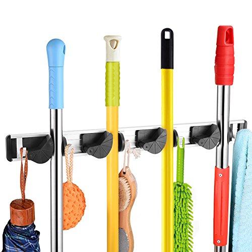 Mopp und Besen Halter Wand montiert Rack Kleiderbügel Kehrbürste Organizer mit für Schrank Rechen Garten Sportgeräte Garage Lagerung für Regale(4 Position 5 Hooks) -