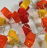 Guru-Shop LED Lichterkette Lampions - mix Orange, Dekorative Girlande, Partylichterkette