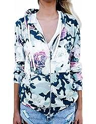 FEITONG Sudadera con capucha de manga larga para mujer Camo Rose Ladies Cardigan Outwear chaqueta de abrigo
