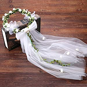 FengJingYuan-ZHUBAO Plastik-Wetaths Sweet Style Hochzeitsschleier-Headpiece Blumenschmuckzubehör