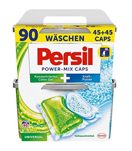 Persil Universal Power-Mix Caps, vordosiertes Vollwaschmittel, 2-Kammer-Technologie, 1er Pack (1 x 90 Waschladungen)