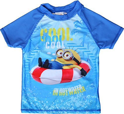 Boys Minons Swim Top T-shirt Rashguards UV 50+ Sizes 6 to 12 Years (12 Years)