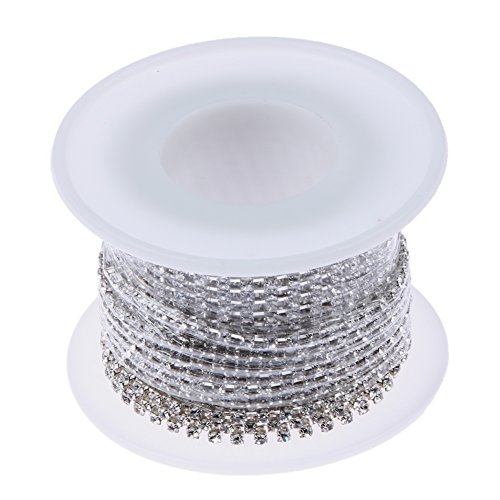 Demiawaking - rotolo da 9,1 m di catenella di strass in cristallo per fai da te e artigianato, dimensioni degli strass 2/3mm, silver, ss6