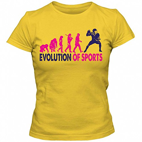 Sport Evolution #1 T-Shirt | Sportler | Fitness | Körper | Frauen | Shirt © Shirt Happenz Gelb (Gold L191)