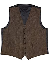 Lloyd Attree & Smith Men's Wool Blend Waistcoat, Fine Herringbone Tweed, Brown