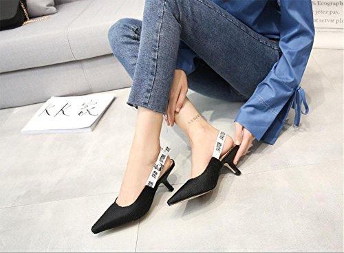 Dopo il nodo a farfalla ha sandali con il cinturino Baotou bene con le scarpe selvatici concessione carriera Black