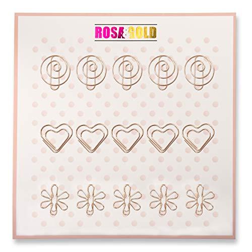 Rosa&Gold 15er Set Deko Büroklammern - 5x Spirale, 5x Herz, 5x Blume (Set4 Rosegold)