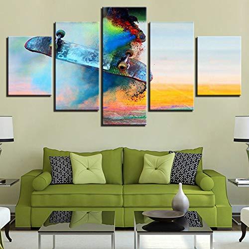 adgkitb canvas Drucke Kunstdekor Leinwand Malerei Moderne Kunst Skateboard Sport Wandmalerei Home Gym Fünf Stücke Ölgemälde Poster