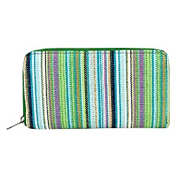 Anekaant Streak Green Canvas Wallet