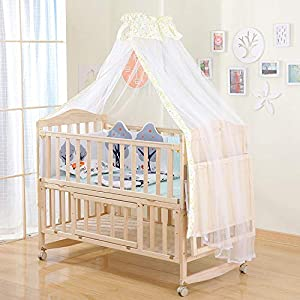 QINYUN Solid Wood Crib Baby Cradle Bed Multi-function Portable Crib,I   11
