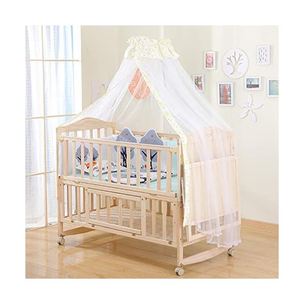 QINYUN Solid Wood Crib Baby Cradle Bed Multi-function Portable Crib,I QINYUN 1. Non-toxic ecological natural solid wood material, without sharp fixing device, can safely touch the skin. 2. This crib protects your child from falling and keeps your baby safe. 3. There is a safe gap between the crib rails so that the baby is not caught between the crib rails. Easy to assemble and save space in your home. 1