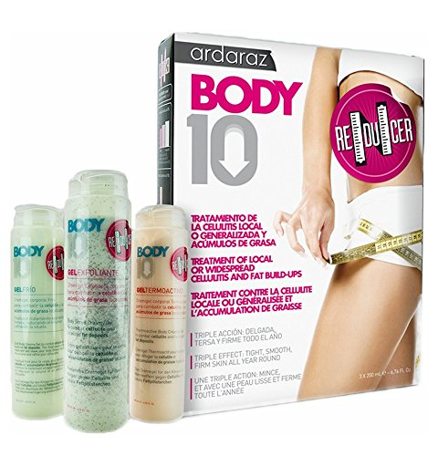 BODY10 REDUCER, crema reductora, crema reafirmante. Tratamiento anticelulítico Triple Acción ALTA EFICACIA PROBADA. Gel Exfoliante 200ml, Gel Frío 200ml, Gel Termoactivo 200ml