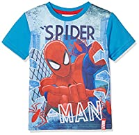 DC Comics Boy's Spiderman T-Shirt, Blue, 7-8 Years (Manufacturer Size:8 Years)
