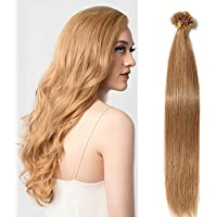 "50 Unidades[1g/unidad] Extensiones de Queratina de Pelo Natural - Pre Bonded U Tip Remy Hair - 22""[55cm,50g] [#12 Castaño Dorado]"