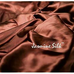 Jasmine Silk 100% Mulberry 19MM Charmeuse seda hoja plana (MOCA) - 230cm x 275cm DOBLE