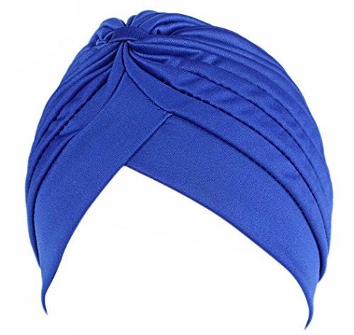 Fascigirl Aux Femmes Turban Tordu la Couverture de Tête Bandeau Plissé Turban Extensible Blu zaffiro