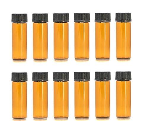 1ml/2ml/3ml/5ml Ambre Mini bouteilles de flacon d'huile essentielle en verre avec orifice Réducteur et bouchon pour huiles essentielles, technologie Lab produits chimiques, Colognes et Parfums (lot de 12), 5ml, 1