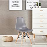 P&N Homewares® Moda Dining Chair Plastic Wood Retro Dining Chairs Grey Modern Furniture (1 CHAIR)