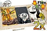 Picknick- & Herdabdeckplatten 2-tlg. Set braun und weiß, italienisches Glasdesign, Farbwahl per Mail,Herdabdeckung + Spritzschutz Glas, Herdblende,Herdabdeckplatte für Elektroherd mit Ceran,Ceranfeld,Induktion Kochfeld - auch als Picknick-Schneidebrett Maße viereckig je ca. 52 cm x 30 cm x 0,8 cm - Herdplatten Abdeckung Schneidbretter Glaskeramik Kochfelder Kochplatten, Herdset einzeln doppel doppelt rund, Kinderschutz für Herdfeld Herdglas Ofen Backofen, Herdzubehör, Kochfeldplatten gross
