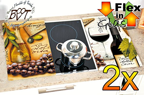 Grill- & Herdabdeckplatten 2-tlg. Design-Italien, braun UND weiss bzw. per Mail-Farbwahl,, Herdabdeckung + Spritzschutz Glas, Herdblende,Herdabdeckplatte für Elektroherd mit Ceran,Ceranfeld,Induktion Kochfeld - auch als Grill-Schneidebrett Maße viereckig je ca. 52 cm x 30 cm x 0,8 cm - Herdplatten Abdeckung Schneidbretter Glaskeramik Kochfelder Kochplatten, Herdset einzeln doppel doppelt rund, Kinderschutz für Herdfeld Herdglas Ofen Backofen, Herdzubehör, Kochfeldplatten gross
