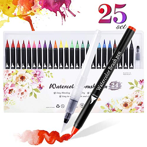 Expower Real Brush Pens, 24 Colours for Watercolour Painting, with 1 Water Pens, Paint Markers for Colouring, Calligraphy and Drawing with Water Brush for Artists and Beginner Painters