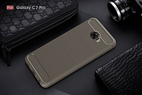 EKINHUI Case Cover Dünn und Leightweight Brushed Carbon Fibre Robuste Rüstung Back Cover Stoßstange Fall Shockproof Drop Resistance Shell Cover für Samsung Galaxy C7 Pro ( Color : Black ) Gray