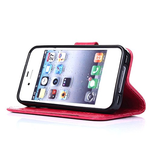iPhone 4s Coque, LANDEE Ultra-mince PU Cuir Etui Portefeuille pour iPhone 4s / 4 Housse Case (4S-P-0403) 4S-P-0402