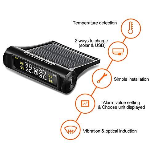 Sistema di controllo della pressione dello pneumatico con 4/sensori esterni a energia solare con schermo LCD