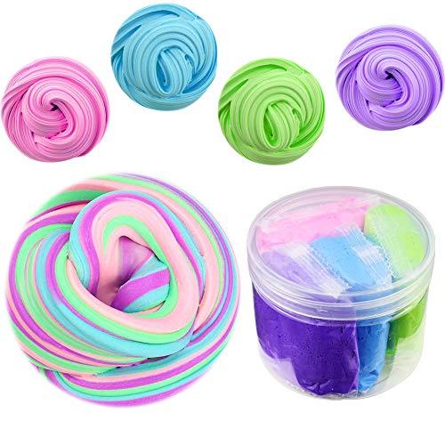SWZY Fluffy Slime Kit, 4 in 1 gemischt Flauschige Floam Schleim Stretchy & Soft Clay Spielzeug ungiftig für Kinder und Erwachsene