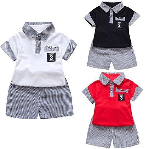 QinMM 2 Pcs Bébé Enfants Garçons Polo T-Shirt + Rayures Shorts Pantalon, Mode Poches Numéro Lettre Imprimé Ensemble de Tops à Manche Courte Gentilhomme Partie QinMM