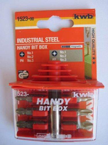 KWB Handy Bit-Box Standard, 7-teilig Kreuzschlitz / Phillips und Pozidriv, 1523-00 (Tool Box Steel Rot)