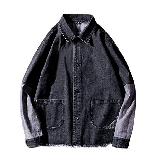 Herren Jacke, sunnymi ® Herbst Trend Nähte Strickjacke Mantel Denim Jacke Top - Camouflage Blatt Königin