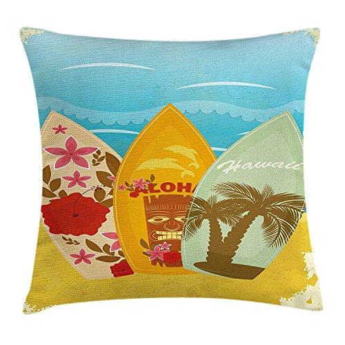 Bamboo Beach Tiki Bar (DPASIi Tiki Bar Decor Throw Pillow Cushion Cover, Hawaiian Beach Surfboards on Sand Exotic Summer Vacation Sport Vintage Style, Decorative Square Accent Pillow Case,Multicolor 20x20inch)