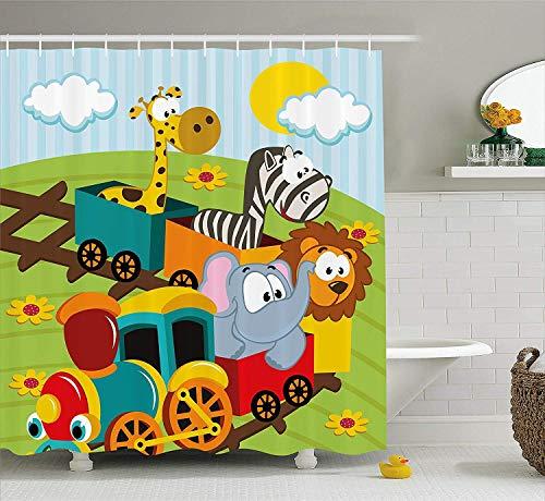 Giow Kids Decor Duschvorhang, Cartoon Baby Safari Wilde Tiere In einem Trainwith Gestreiften Hintergrund Kunstdruck, Stoff Badezimmer Dekor Set mit Haken, 75 Zolls Lang, Mehrfarbig