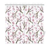 AGIRL Wohnkultur Bad Vorhang Japan Japanisch Floral Blume Sakura Baum Polyester Stoff Wasserdicht Duschvorhang Für Badezimmer, 72 X 72 Zoll Duschvorhänge Haken Enthalten