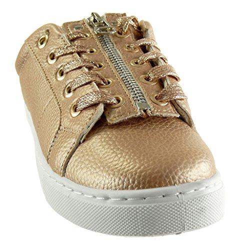 Angkorly - Scarpe Da Ginnastica Da Donna - Suola Sneaker - Tinta Unita - Tacco Piatto Con Zip 2 Cm Di Champagne