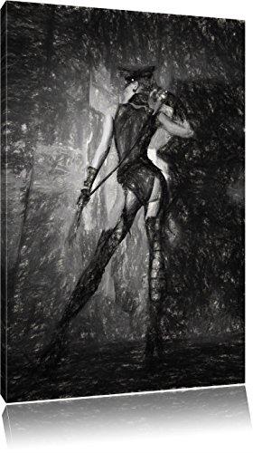 Sinnliche Frau in schönem Dessou mit einer Peitsche Kunst Kohle Effekt, Format: 60x40 auf Leinwand, XXL riesige Bilder fertig gerahmt mit Keilrahmen, Kunstdruck auf Wandbild mit Rahmen, günstiger als Gemälde oder Ölbild, kein Poster oder Plakat