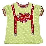 BONDI T-Shirt Hosenträger ´Herz Alpenglück´ Kurzarm soft green Gr. 68 - Wunderschönes Shirt vom Markenhersteller BONDI Kidswear für Mädchen