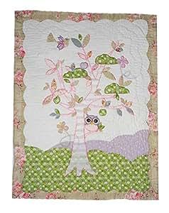 patchworkdecke 80 cm 105 cm eule baum baby rosa lila. Black Bedroom Furniture Sets. Home Design Ideas